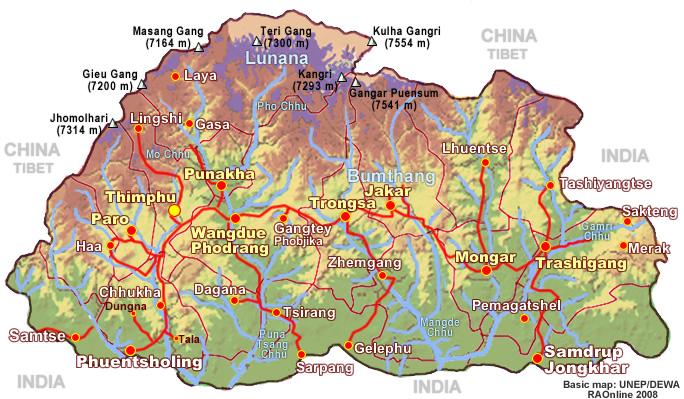 on map of bhutan