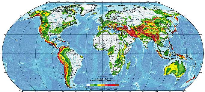 erdbeben karte RAOnline EDU: Erdbeben   Gefährdungskarten, seismische und