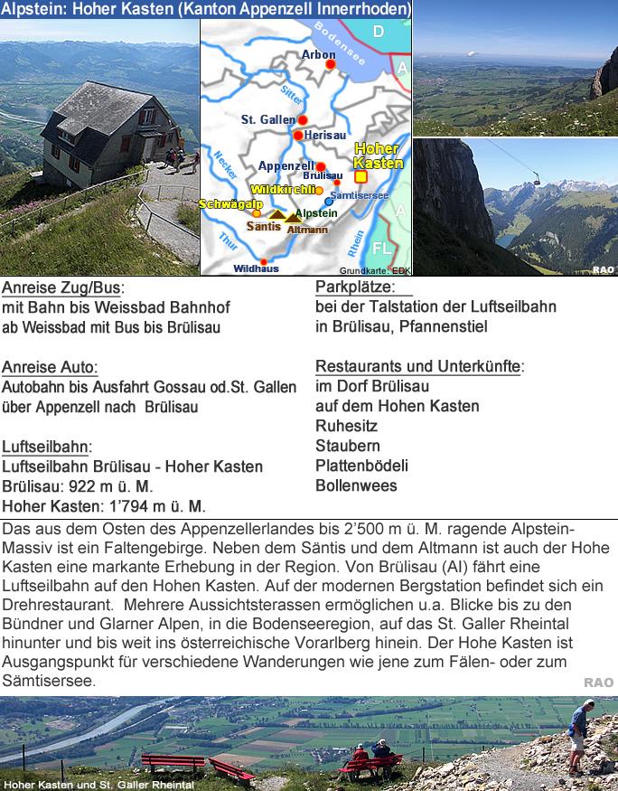 Raonline Wandern Schweiz Alpstein Hoher Kasten