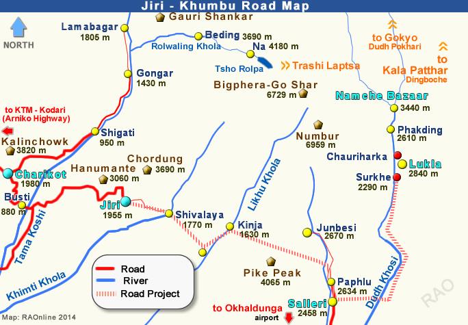 Khumburoadmap on Where Is Kathmandu Nepal Located On A Map